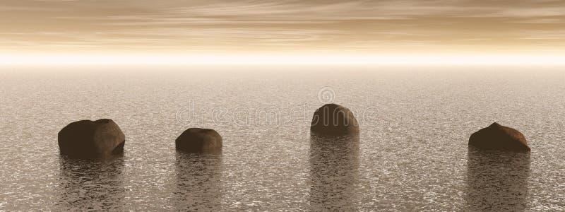 Meditação e marrom da paisagem da pedra - rendição 3D ilustração stock