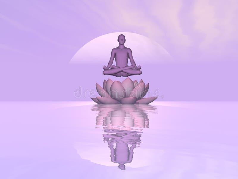 Meditação em cima da flor de lótus do lírio - 3D rendem ilustração royalty free