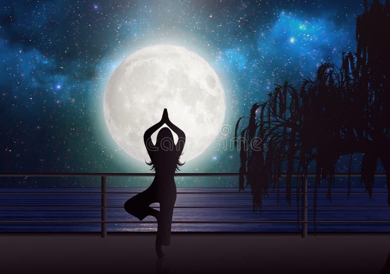 Meditação em uma ponte que olha o céu da meia-noite com estrelas e Lua cheia, reflexão clara no papel de parede da água ilustração stock