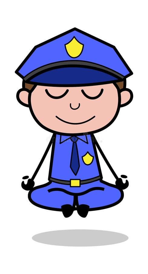 Meditação - ilustração retro do vetor do polícia da bobina ilustração royalty free