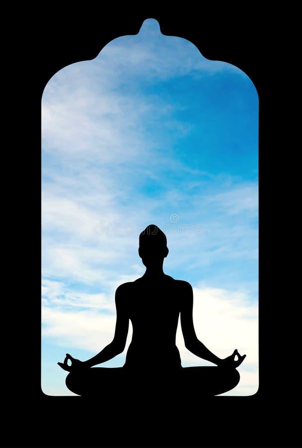 Meditação no templo velho ilustração royalty free