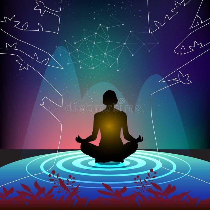 Meditação praticando à alma pura imagens de stock royalty free
