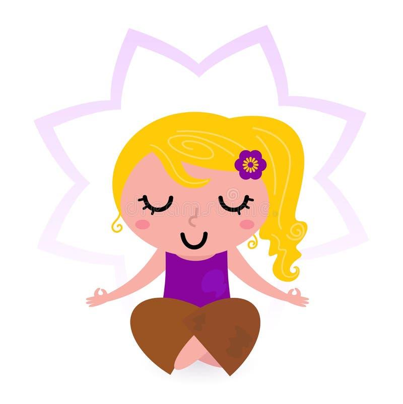 Meditação praticando da menina da ioga ilustração royalty free