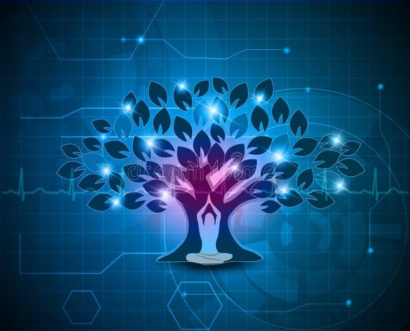 Meditação sob o fundo da árvore ilustração royalty free