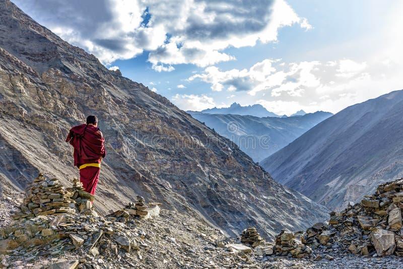 Meditação sobre o desfiladeiro do monastério de Rizong em Ladakh, Índia fotografia de stock royalty free