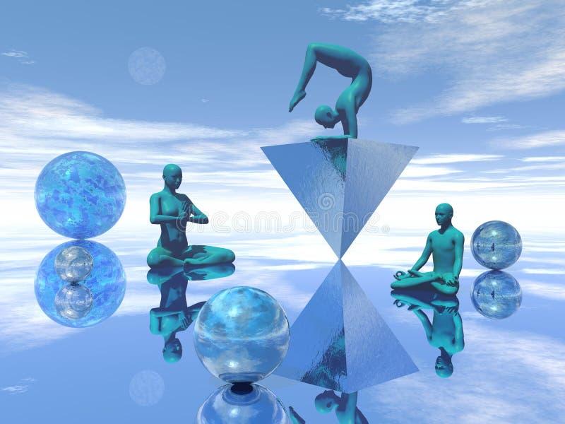Meditación azul - 3D rinden ilustración del vector