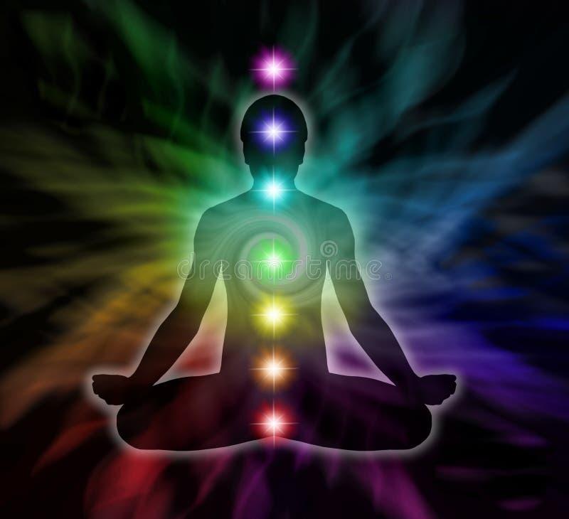 Meditación de Chakra del arco iris stock de ilustración