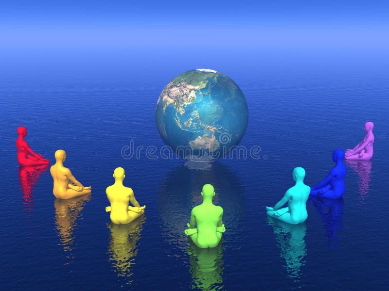 Meditación de Chakra para la tierra - 3D rinden ilustración del vector