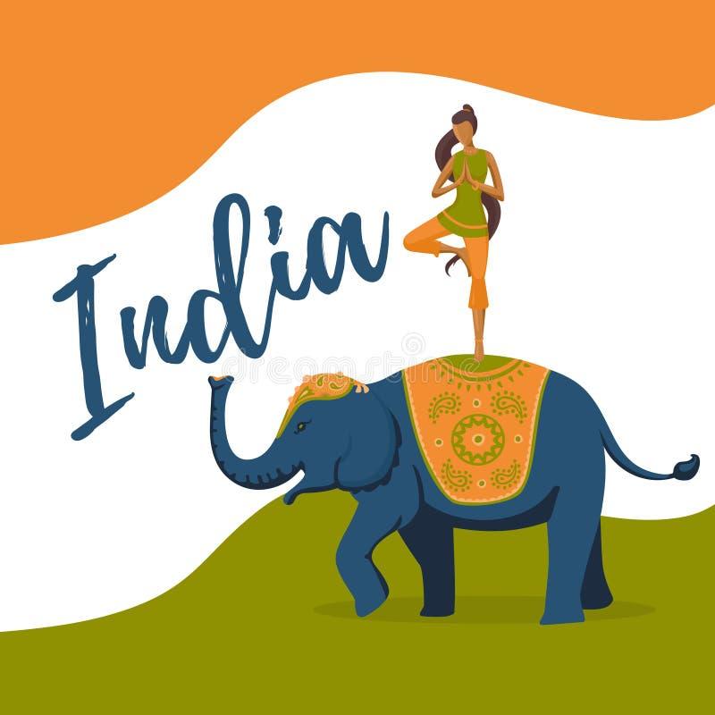 Meditación de la muchacha de la yoga en el elefante indio Día de la Independencia de la India ilustración del vector
