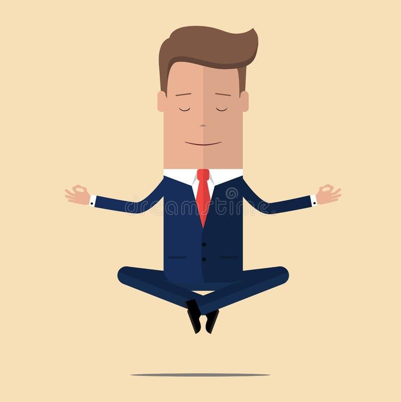 Meditación de la oficina El hombre de negocios que se sienta en loto de la yoga presenta, se relaja y asomando en el aire Ilustra libre illustration