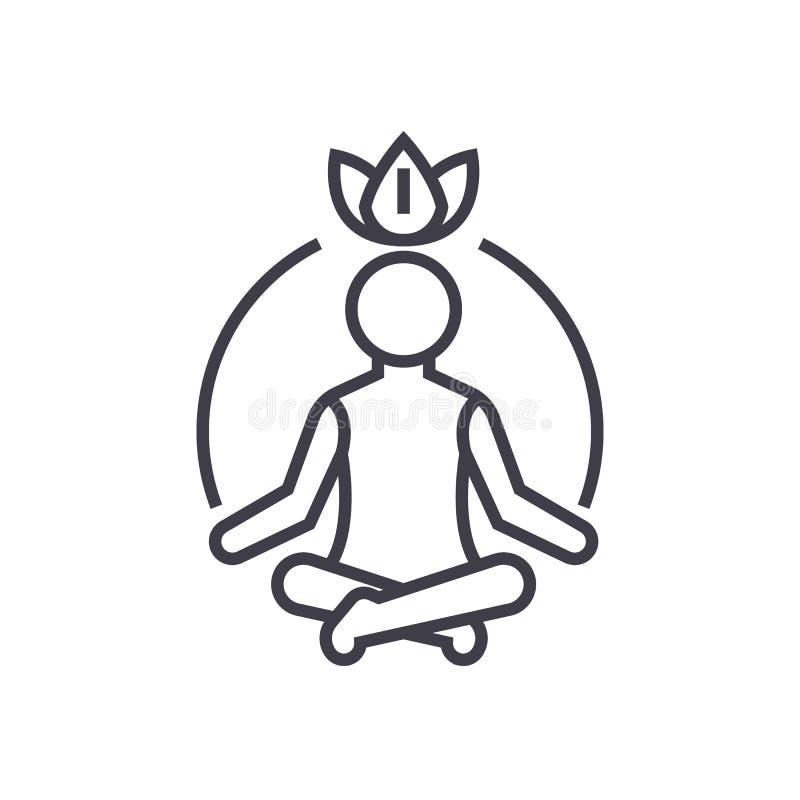 Meditación de la relajación, mindfulness, línea icono, muestra, ejemplo del vector de la concentración en el fondo, movimientos e libre illustration