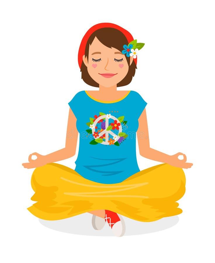 Meditación de la yoga de la muchacha del hippie stock de ilustración