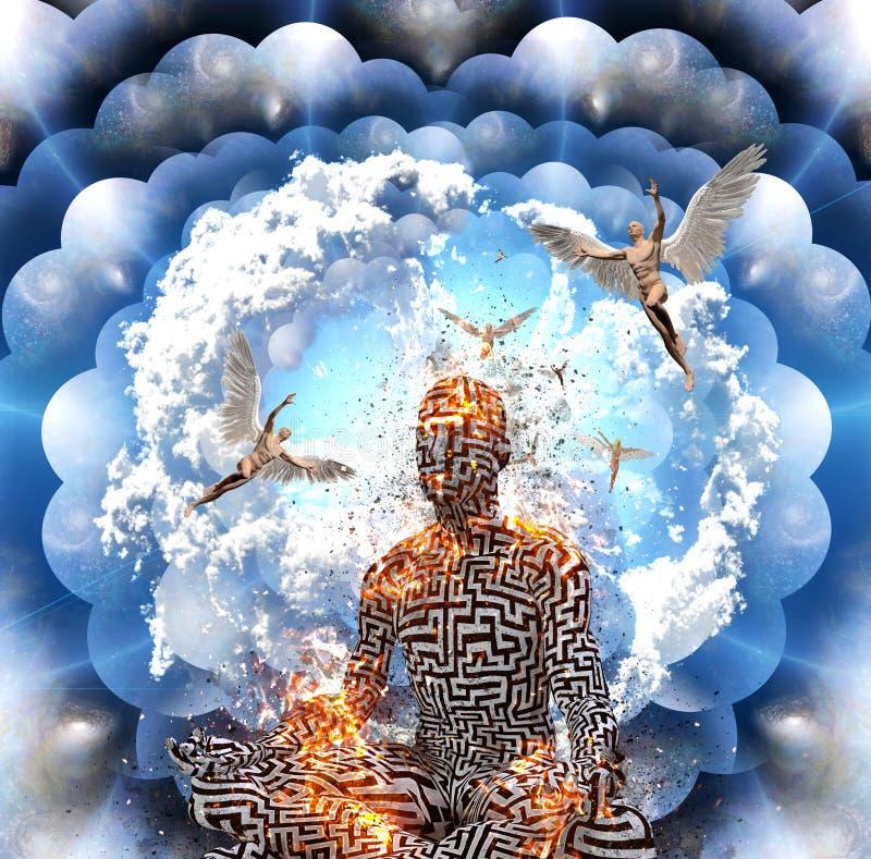 Meditación en actitud del loto ilustración del vector