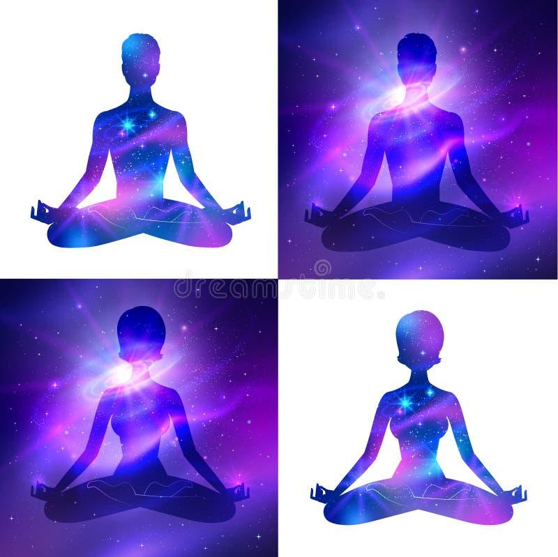 Meditación en fondo del espacio libre illustration