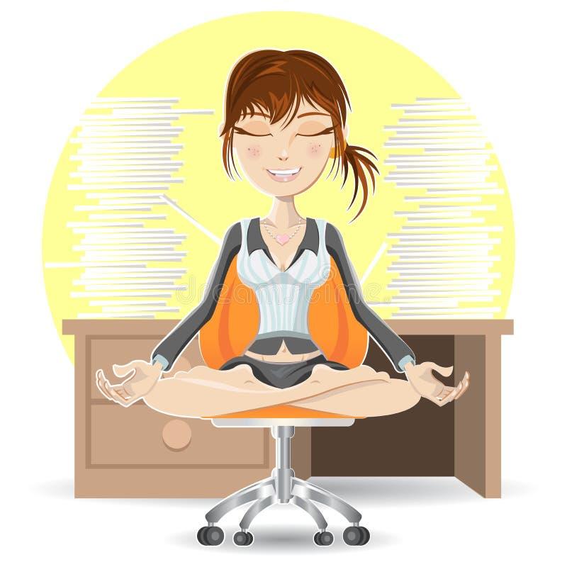 Meditación en la oficina stock de ilustración