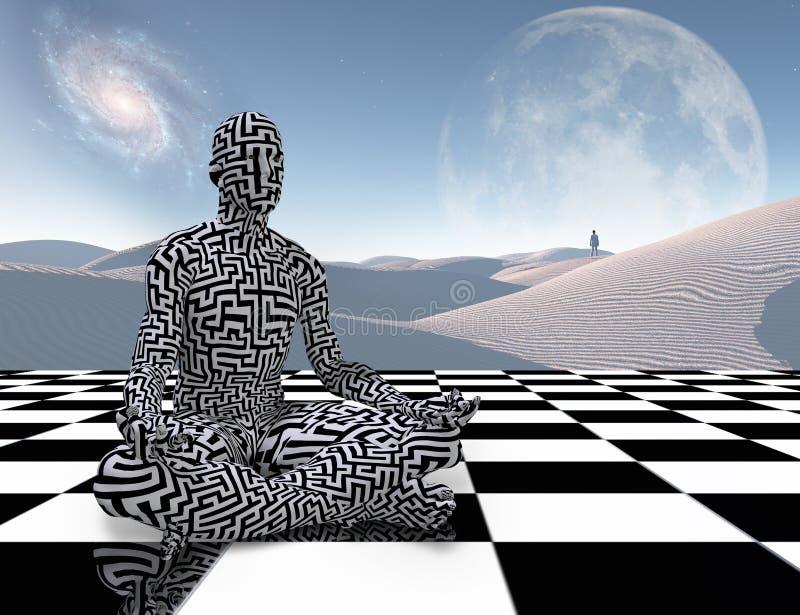 Meditación en un tablero de ajedrez ilustración del vector