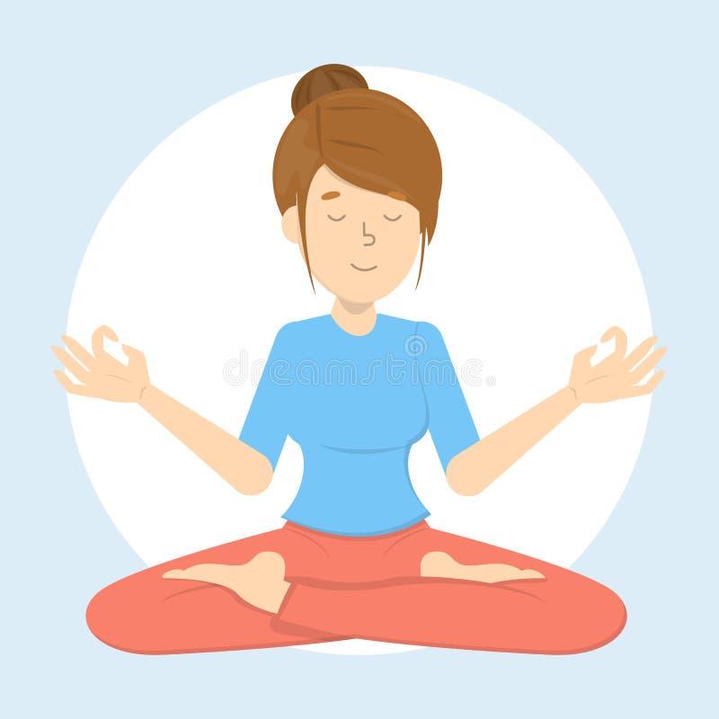 Meditación en una actitud del loto Práctica de la yoga libre illustration