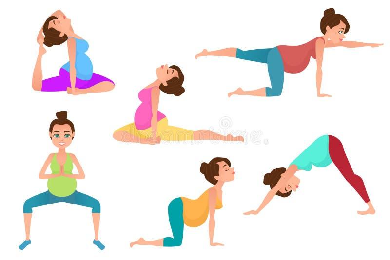 Meditación joven de la mujer del embarazo en actitudes de la yoga stock de ilustración