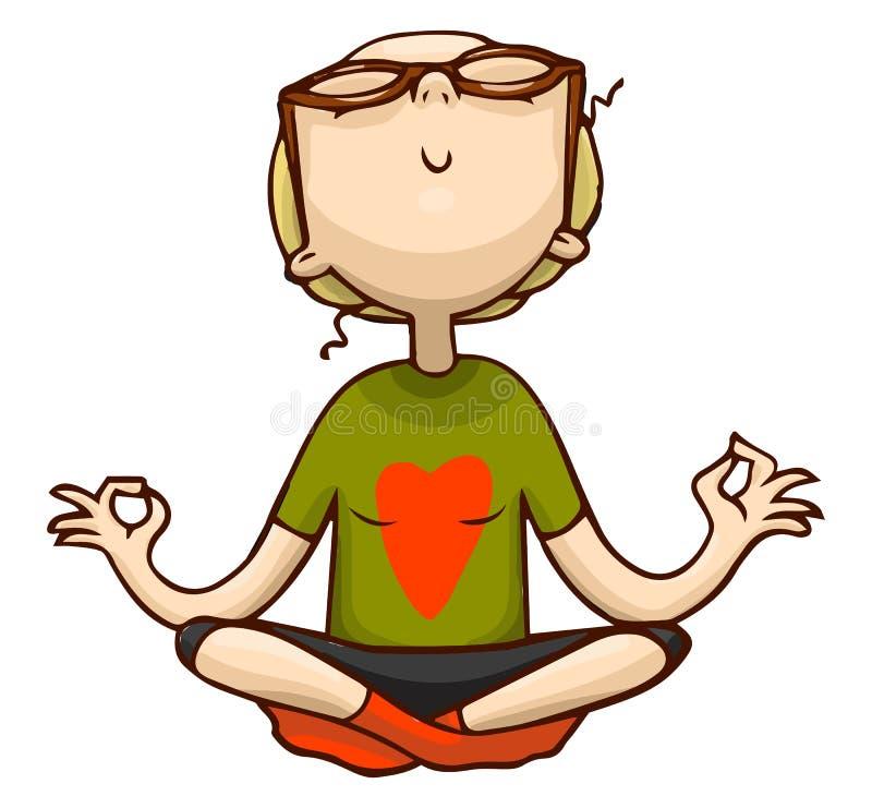 Meditación linda de la muchacha de la historieta en la posición de loto Ejemplo colorido aislado vector de la muchacha de la yoga stock de ilustración