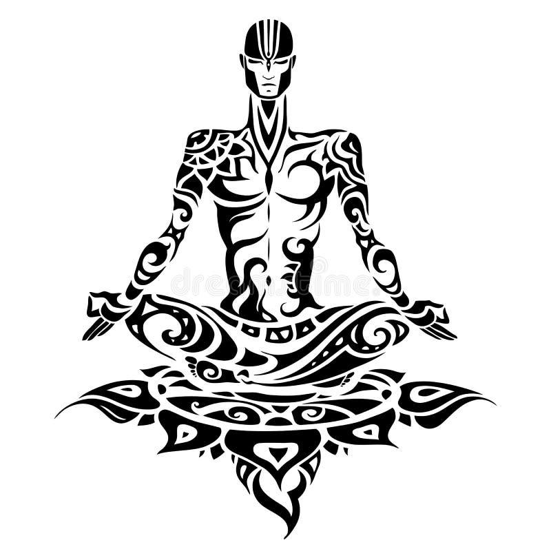 meditación Silueta del hombre de la yoga ilustración del vector