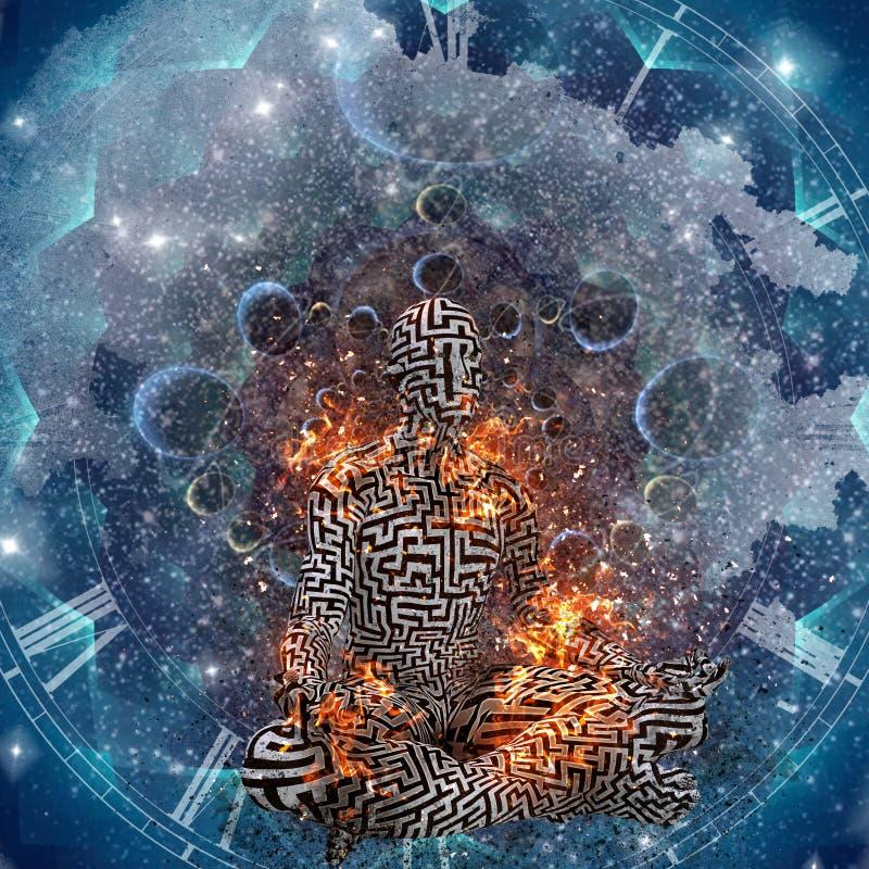Meditaci?n del espacio ilustración del vector