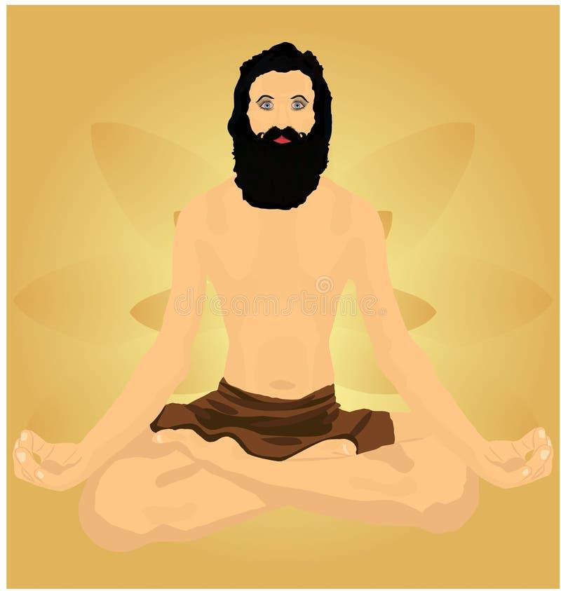 Meditando al hombre de la yogui contra horizonte de oro del fondo de la pendiente del pétalo del loto Vector el ejemplo ilustración del vector
