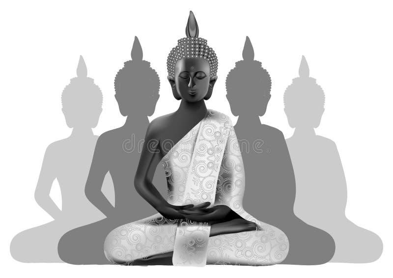 Meditando Buddha posture nei colori d'argento e neri con il silhou royalty illustrazione gratis
