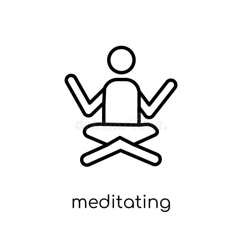 Meditando o ícone Vetor linear liso moderno na moda que medita o ico ilustração do vetor