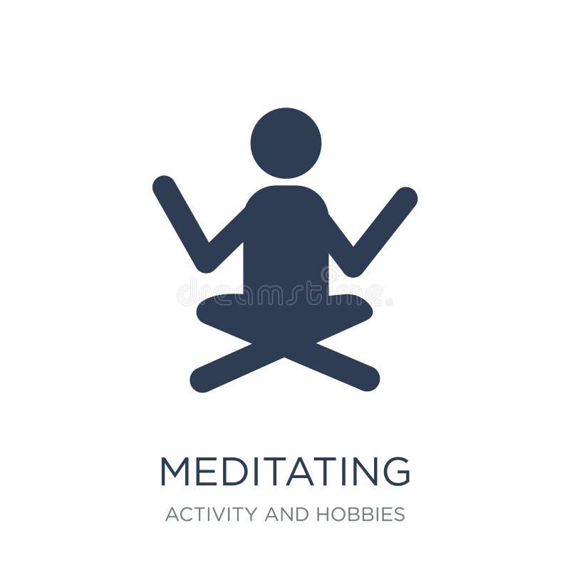 Meditando o ícone Vetor liso na moda que medita o ícone no CCB branco ilustração do vetor