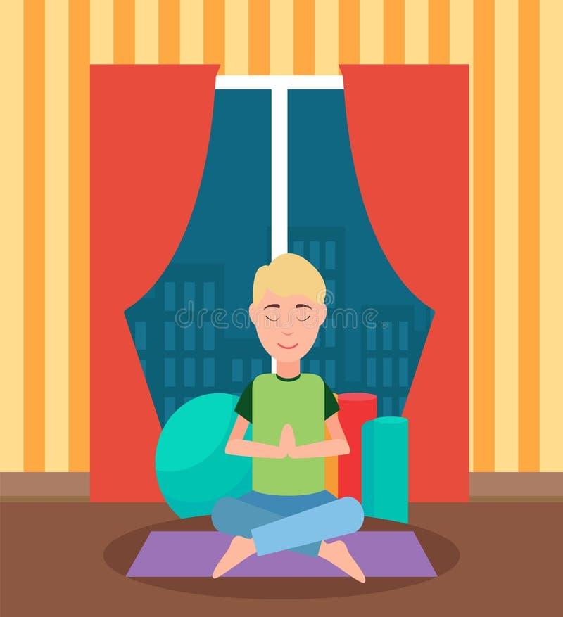 Meditando o homem que senta-se de pernas cruzadas em Mat Vetora ilustração stock