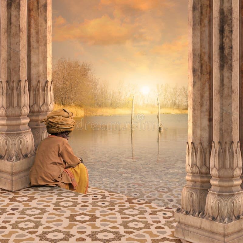 Meditando sobre o Ganges imagem de stock royalty free
