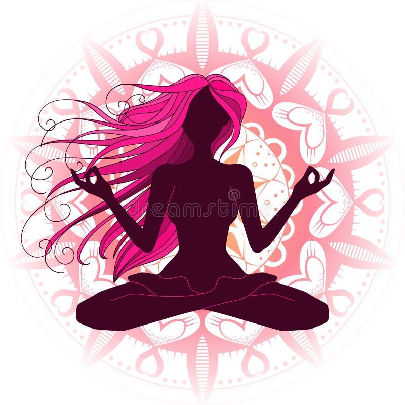 Meditar bonito da silhueta da mulher, fazendo a ioga, vecto gráfico ilustração royalty free