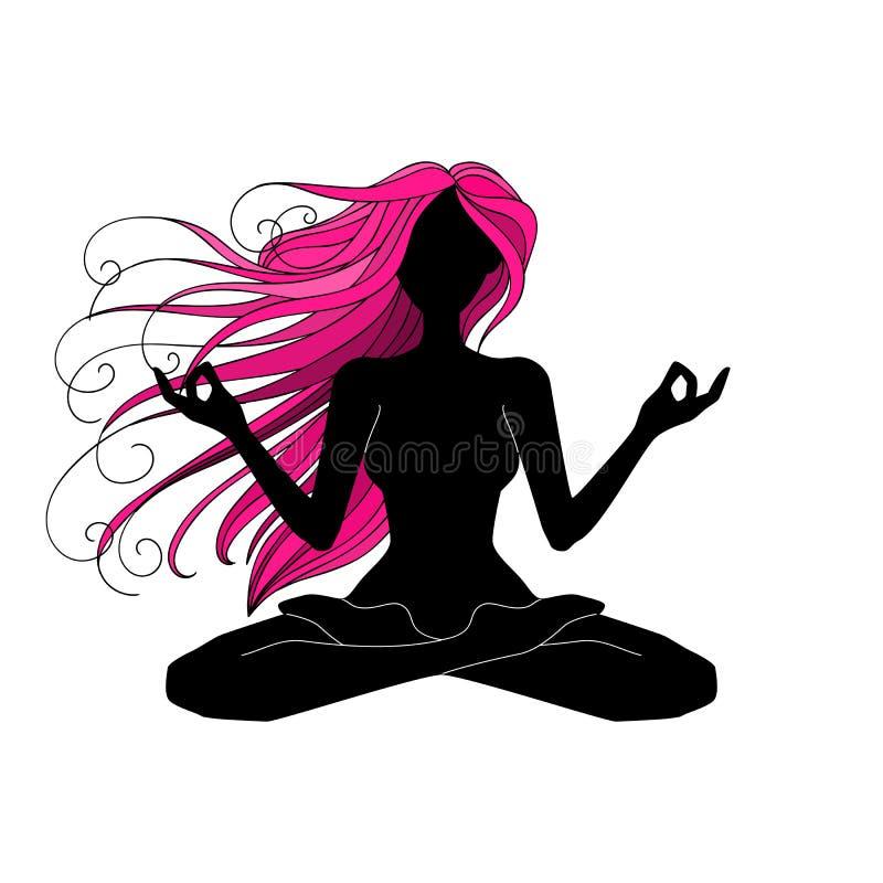 Meditar bonito da silhueta da mulher, fazendo a ioga, vecto gráfico ilustração stock
