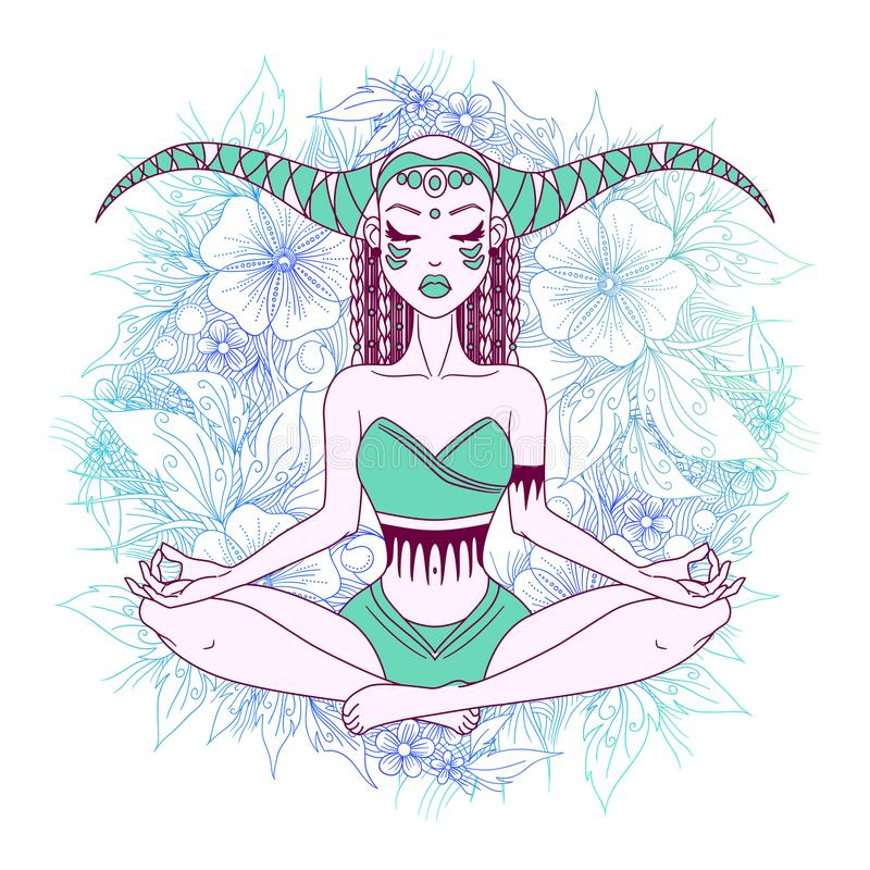 Meditar da menina, fazendo a ioga, projeto gráfico da ilustração do vetor ilustração do vetor