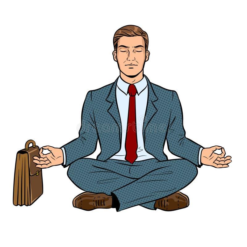 Meditar el ejemplo del vector del arte pop del hombre de negocios stock de ilustración