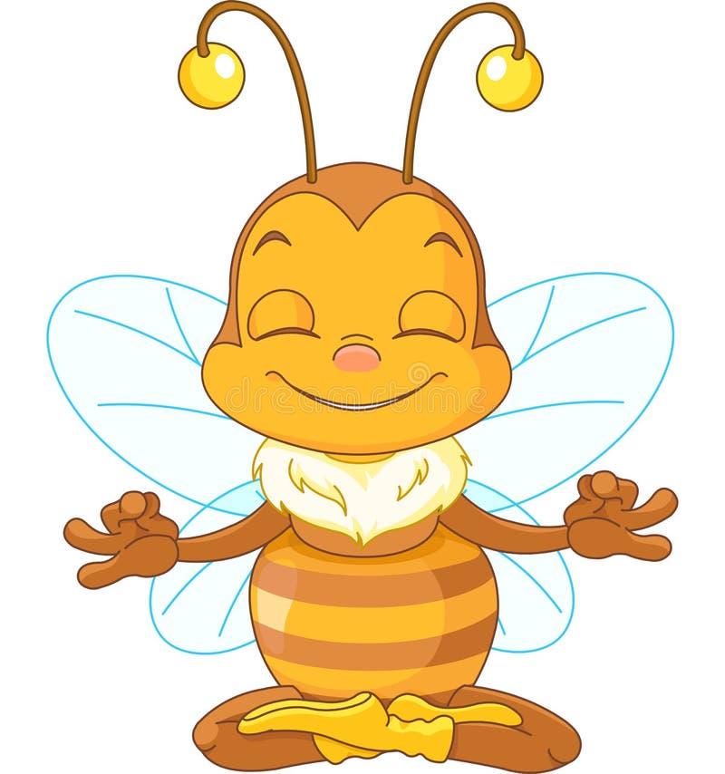 Meditar la abeja stock de ilustración