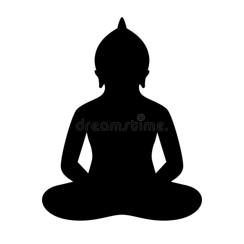 Meditar a la persona en silueta de la actitud del loto ilustración del vector