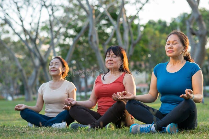Meditar a mujeres envejecidas fotos de archivo