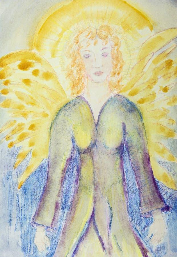 Meditare angelo femminile con aura E illustrazione di stock