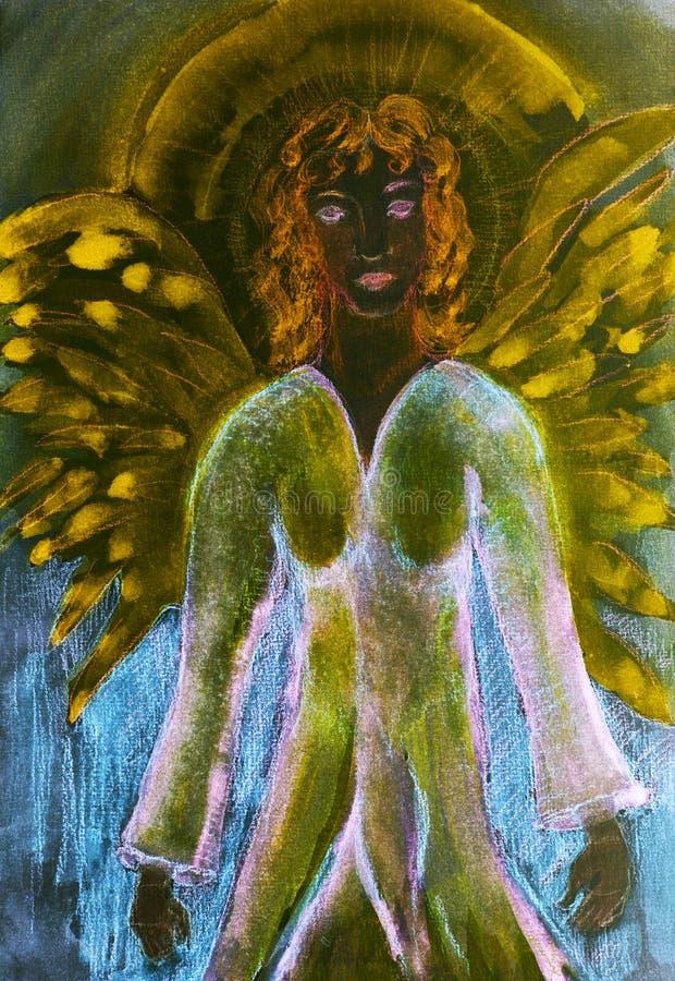 Meditare angelo nero femminile con aura illustrazione di stock