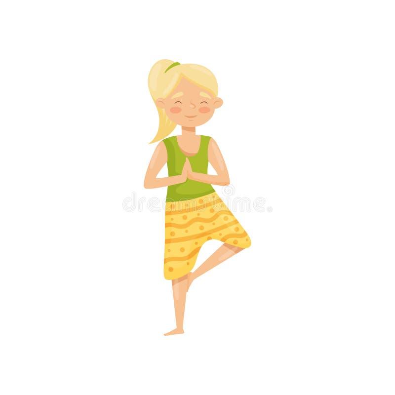 Meditare biondo sveglio della ragazza, stante su una gamba Giovane donna che fa esercitazione di yoga Illustrazione piana di vett illustrazione di stock