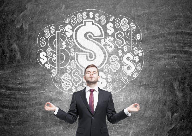 Meditare uomo d'affari con lo schizzo del dollaro fotografia stock