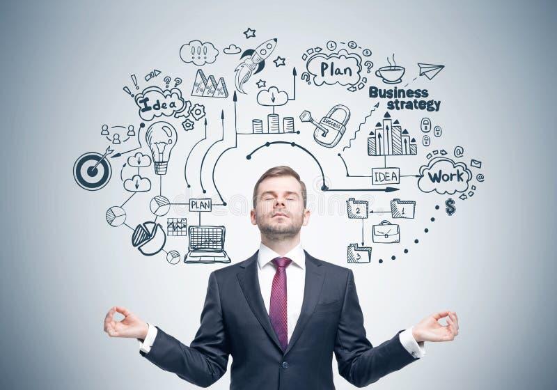 Meditare uomo d'affari, strategia aziendale immagini stock