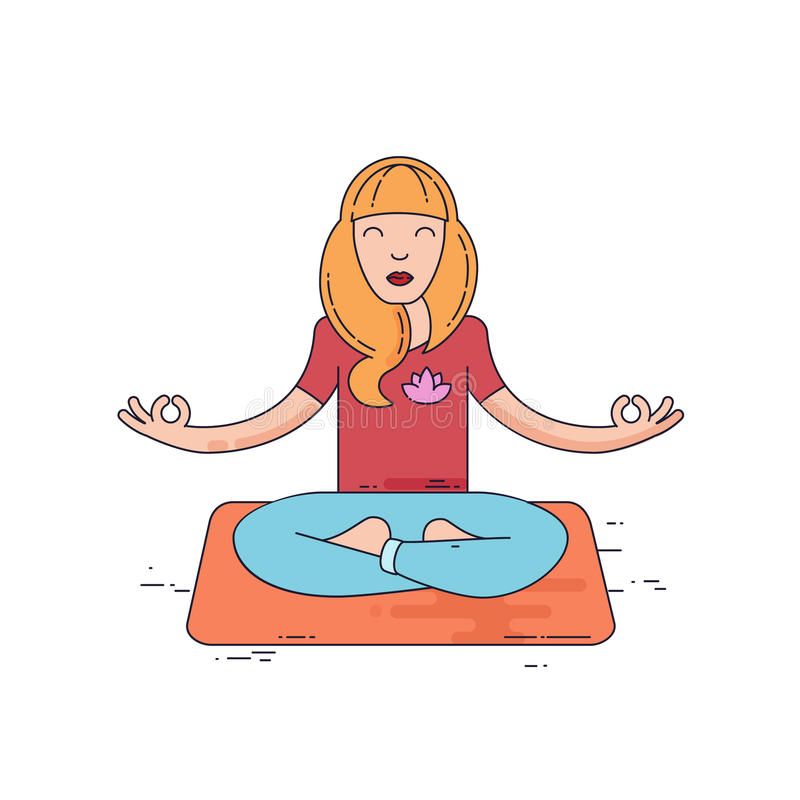 meditate детеныши женщины иллюстрация вектора