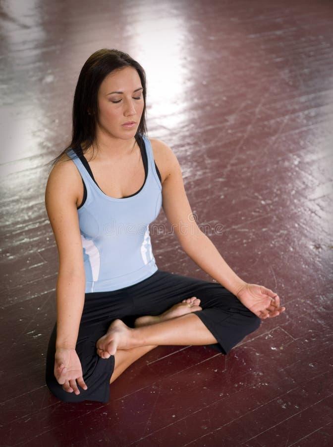 Download Woman Practice Meditate Sitting Cross Legged Stock Image - Image: 18608483