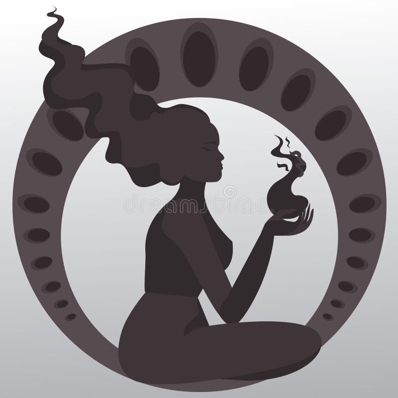 Meditate girl silhouette art nouveau. royalty free illustration