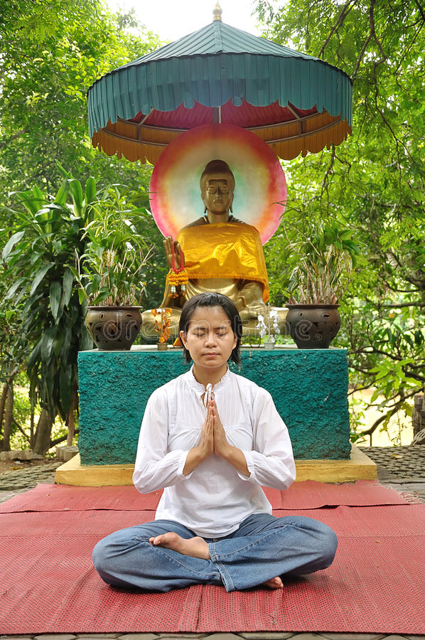Download Meditate lady stock photo. Image of posture, monastery - 21257730