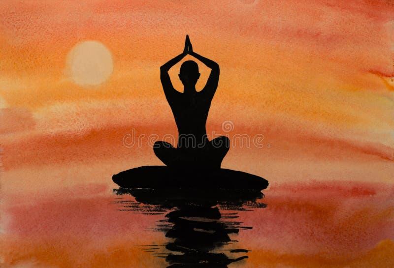 Meditatie bij zonsondergang stock illustratie