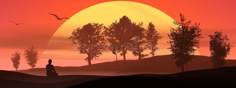 Meditatie in de aard door zonsondergang royalty-vrije illustratie