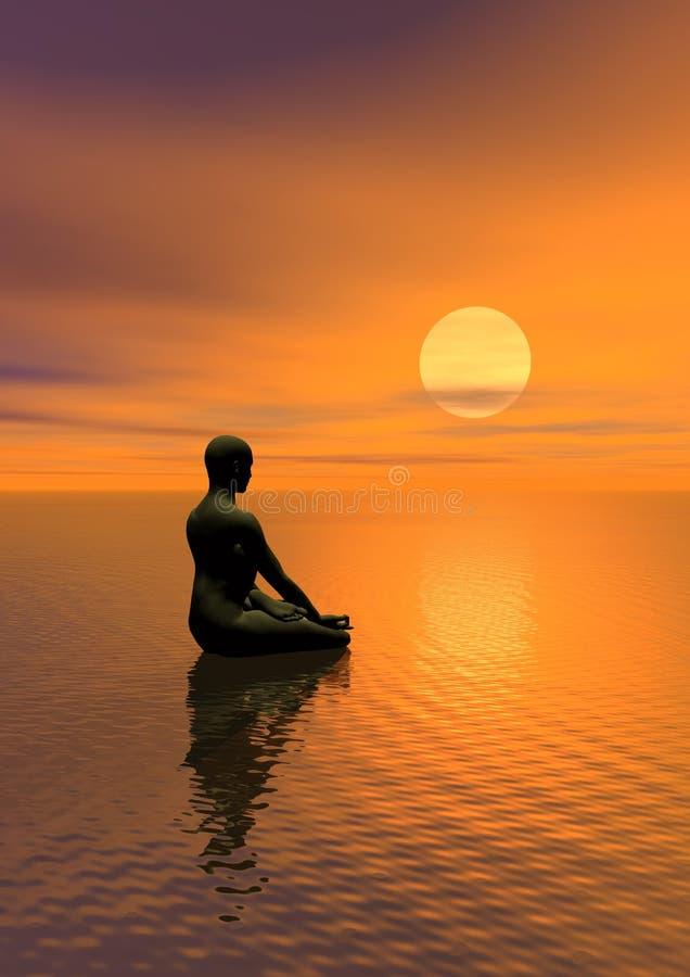 Meditatie door zonsondergang vector illustratie